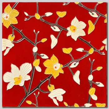 Orchids Red tile cm: 42x42