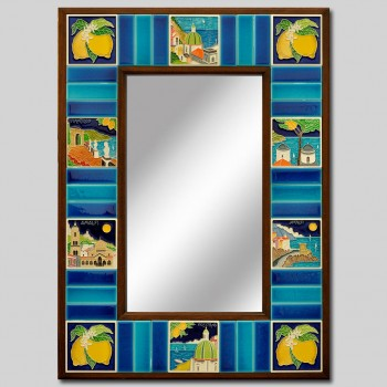 """AMALFI"" HAND PAINTED CERAMIC MIRROR cm 54X74"