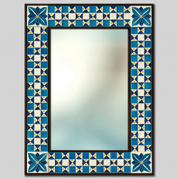 """COSMATI"" HAND PAINTED CERAMIC MIRROR Cm 64x84"