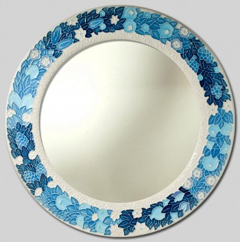 Della Robbia fruit mod. B Hand Painted Ceramic Mirror cm Ø 40