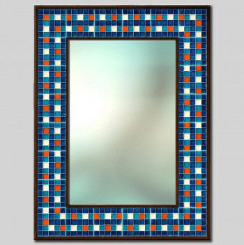 """Mosaic"" Hand Painted Ceramic Mirror cm 64x84"